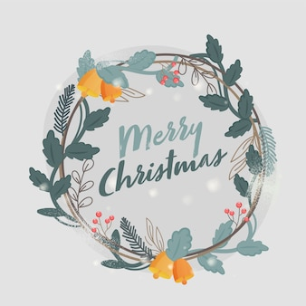 Frohe weihnachten schrift auf dekorativem kranz und grauem hintergrund. kann als poster verwendet werden.