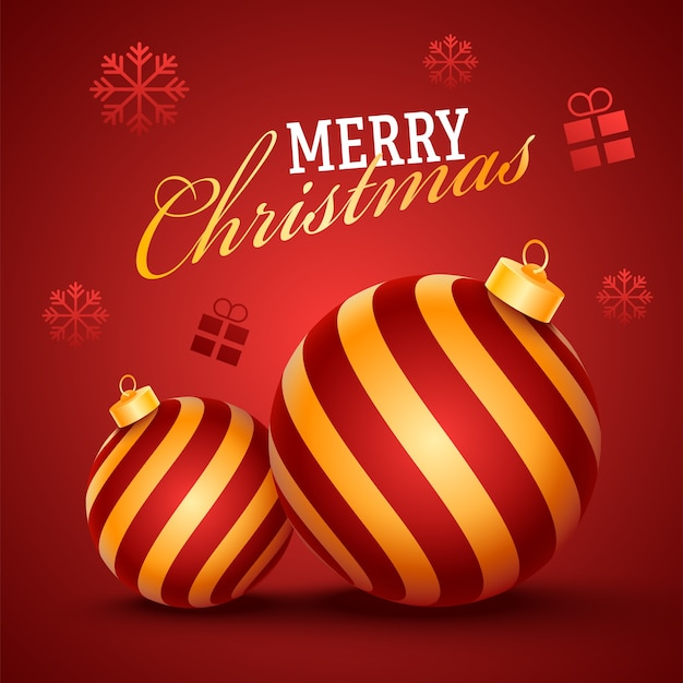 Frohe weihnachten schrift mit realistischen kugeln, schneeflocken und geschenkboxen auf rotem hintergrund.