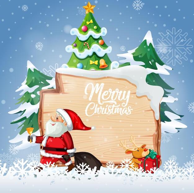 Frohe weihnachten schriftart logo auf holzbrett mit weihnachtskarikatur in schneeszene
