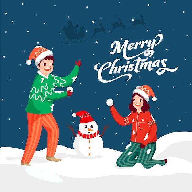 Frohe weihnachten schriftart mit fröhlichen kindern, die schneeball halten