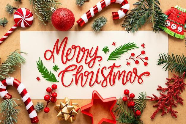 Frohe weihnachten-schriftzug auf weihnachtsfoto
