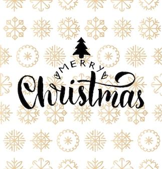 Frohe weihnachten schriftzug design auf schneeflocken hintergrund. nahtloses muster des neuen jahres für grußkartenschablone. frohe feiertage plakatkonzept.