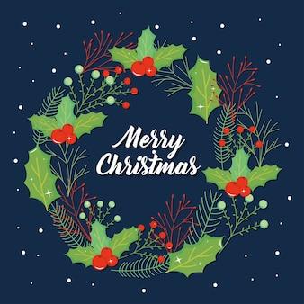 Frohe weihnachten schriftzug design mit schönen weihnachten mistel krone über blauem hintergrund