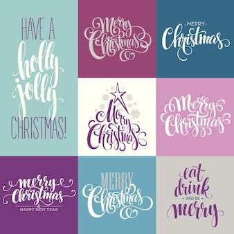 Frohe weihnachten-schriftzug-design-set. vektorillustration eps10
