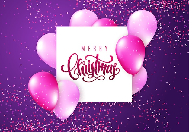 Frohe weihnachten schriftzug. elegante grußkarte mit realistisch glänzenden fliegenden luftballons und funkelnden konfetti