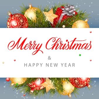 Frohe weihnachten schriftzug, geschenk und bälle