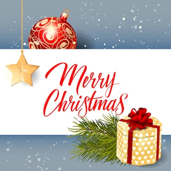 Frohe weihnachten schriftzug, geschenk und ball