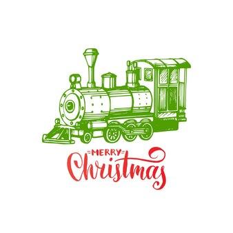 Frohe weihnachten schriftzug. gezeichnete spielzeugeisenbahn illustration. frohe feiertage gruß
