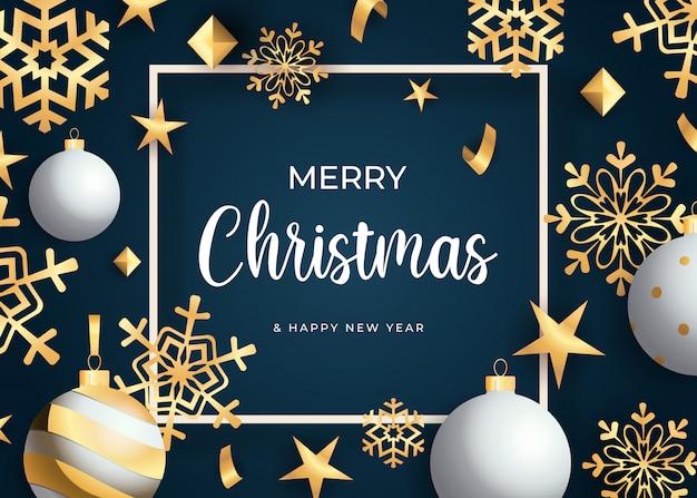 Frohe weihnachten-schriftzug, goldene schneeflocken und bälle