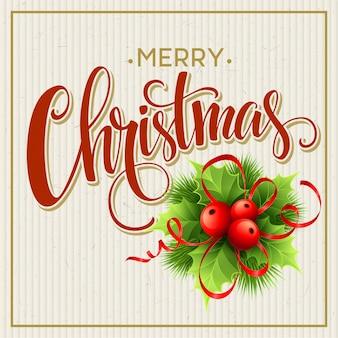 Frohe weihnachten schriftzug grußkarte