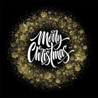 Frohe weihnachten-schriftzug im glitzerrahmen. weihnachtskonfetti, goldener staub und schneeflocken runder rahmen. gruß der frohen weihnachten lokalisiert auf schwarzem hintergrund. postkarten-design. vektor-illustration