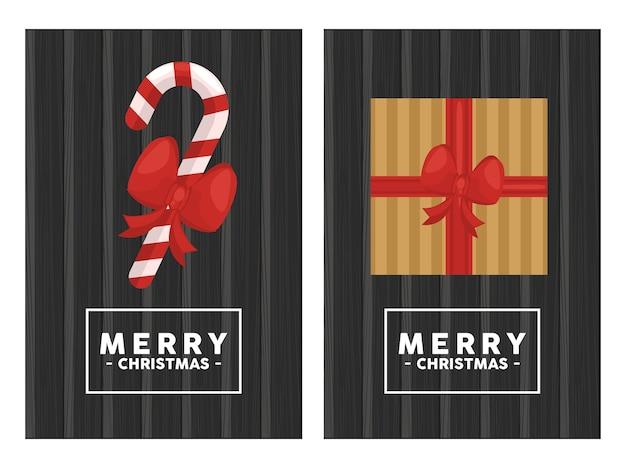 Frohe weihnachten schriftzug im quadratischen rahmen mit geschenk und zuckerrohr im hölzernen hintergrund