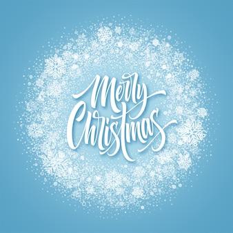 Frohe weihnachten-schriftzug im schneebedeckten rahmen. weihnachtskonfetti, froststaub und schneeflocken runder rahmen. gruß der frohen weihnachten lokalisiert auf gefrorenem hintergrund. postkarten-design. vektor-illustration