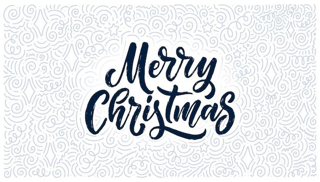 Frohe weihnachten schriftzug in hand gezeichneten stil.