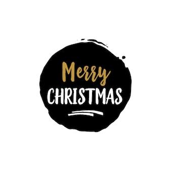 Frohe weihnachten schriftzug in schwarzer runde
