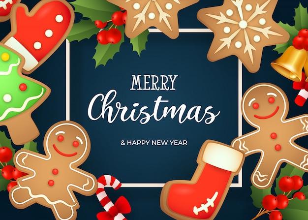 Frohe weihnachten-schriftzug, lebkuchen, mistel