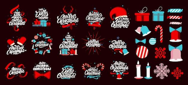 Frohe weihnachten schriftzug logos.