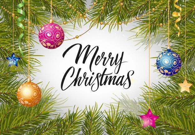 Frohe weihnachten schriftzug mit bällen