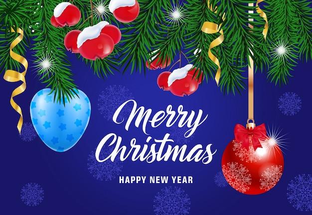 Frohe weihnachten schriftzug mit beeren