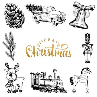 Frohe weihnachten schriftzug mit gezeichneten krippen spielzeug illustrationen. frohe feiertage typografie.