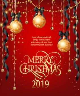 Frohe weihnachten-schriftzug mit kugeln und bändern