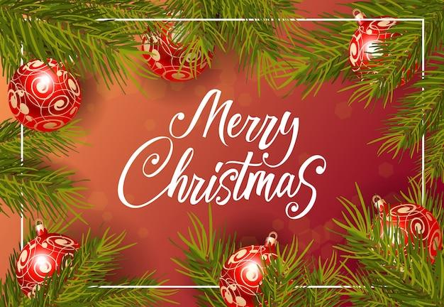 Frohe weihnachten-schriftzug mit kugeln