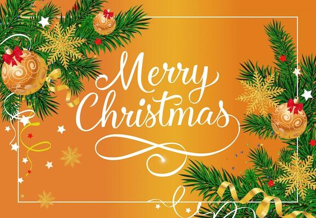 Frohe weihnachten schriftzug mit kugeln