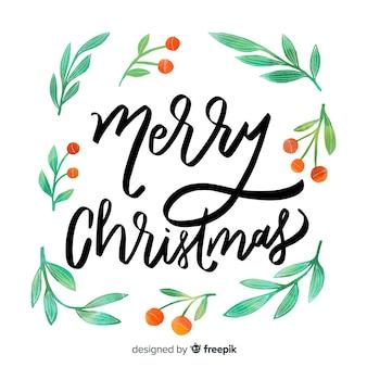 Frohe weihnachten-schriftzug mit mistel