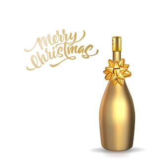 Frohe weihnachten schriftzug mit realistischen goldenen champagnerflasche