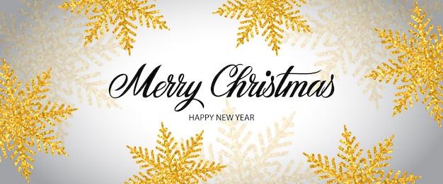 Frohe weihnachten-schriftzug mit schneeflocken