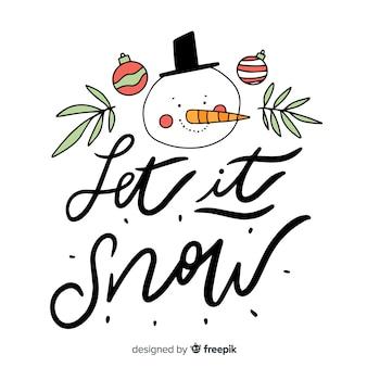 Frohe weihnachten-schriftzug mit schneemann