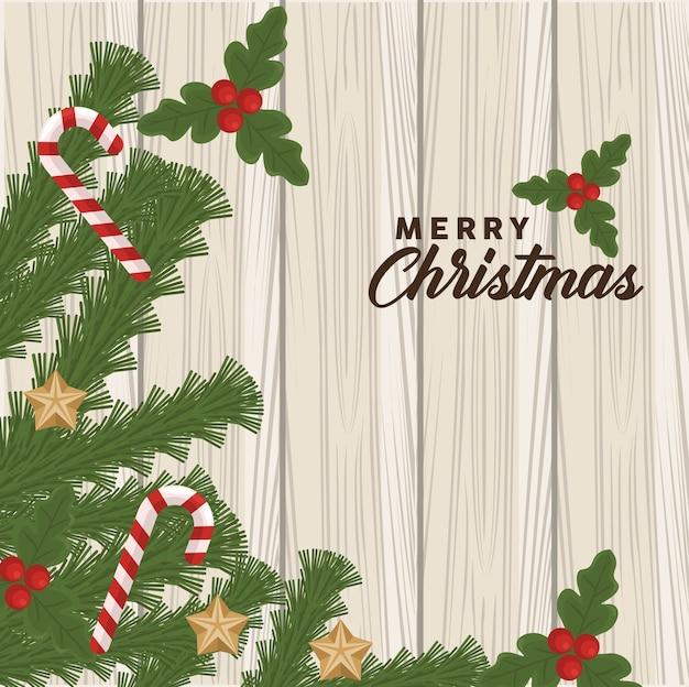 Frohe weihnachten schriftzug mit stöcken und blättern im hölzernen hintergrund
