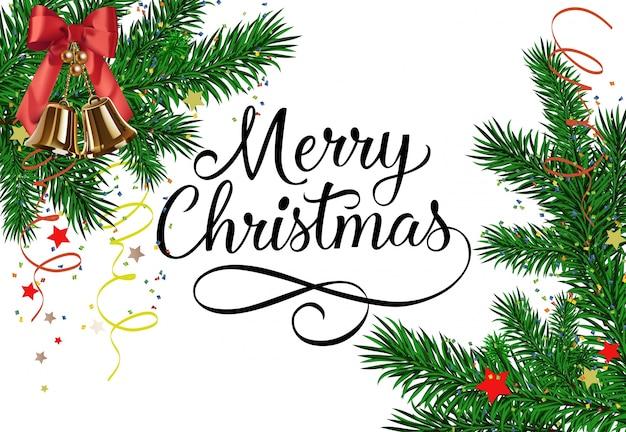 Frohe weihnachten schriftzug mit swirls