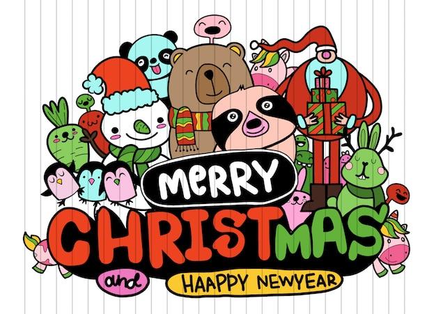 Frohe weihnachten-schriftzug, santa und süße freunde