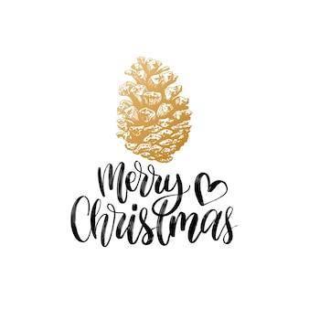 Frohe weihnachten schriftzug. tannenzapfen zeichnung illustration. frohe feiertage gruß.