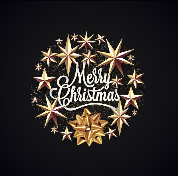 Frohe weihnachten schriftzug umgab weihnachtsdekoration für grußplakat oder karte oder flyer oder einladung auf schwarzem hintergrund