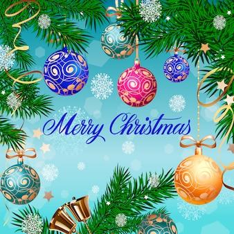 Frohe weihnachten-schriftzug und glocken