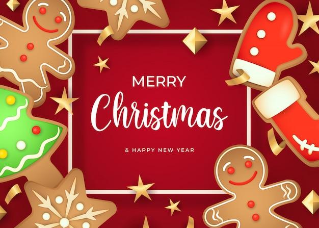 Frohe weihnachten-schriftzug und lebkuchen