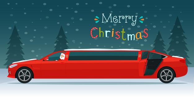 Frohe weihnachten schriftzug und rote limousine mit weihnachtsmann