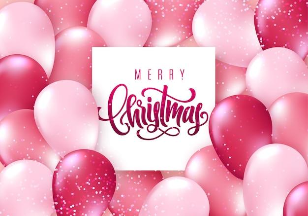Frohe weihnachten schriftzugkarte mit realistischen glänzenden fliegenden luftballons und funkelnden konfetti