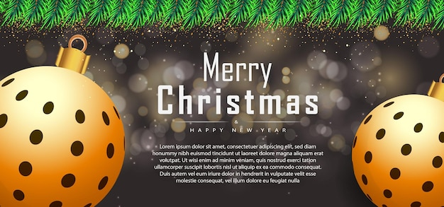 Frohe weihnachten-schwarzer hintergrundbanner mit realistischen weihnachtselementen premium-vektor