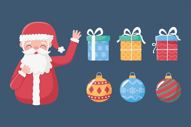 Frohe weihnachten, set ikonen santa balls und geschenkboxen illustration