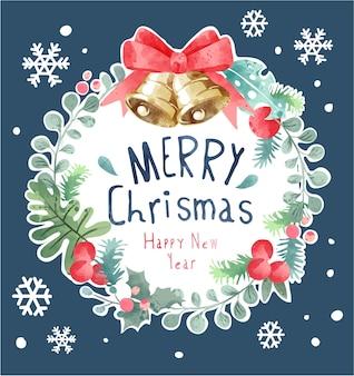 Frohe weihnachten slogan auf bunte weihnachtskranzillustration
