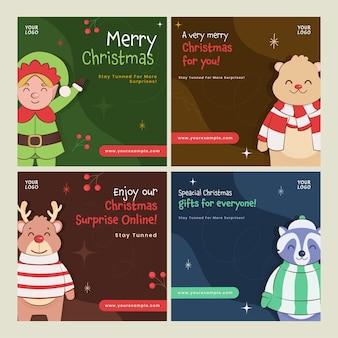 Frohe weihnachten-social-media-posts mit cartoon-elf, eisbär, rentier und waschbär-charakter in vier farboptionen.