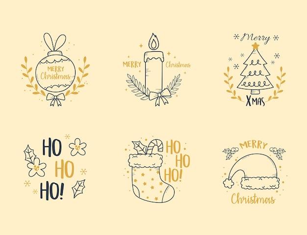Frohe weihnachten stellte etikettendekoration mit kerzenbaumsocke und kugelillustration ein