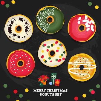 Frohe weihnachten stil donuts set.
