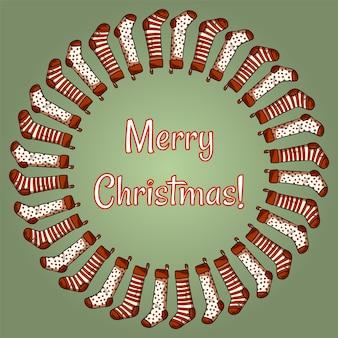 Frohe weihnachten strümpfe kranz