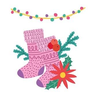 Frohe weihnachten, strumpf weihnachtsstern blume und lichter dekoration feier karte für gruß illustration
