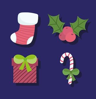 Frohe weihnachten, strumpfgeschenk zuckerstange und stechpalmenbeerenikonen dunkler hintergrundvektorillustration
