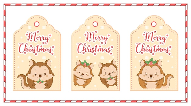 Frohe weihnachten süße eichhörnchen mit schneeflocke zeichnung tag-karten